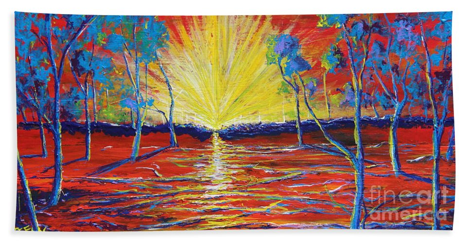 Landscape Hand Towel featuring the painting All Is One by Stefan Duncan