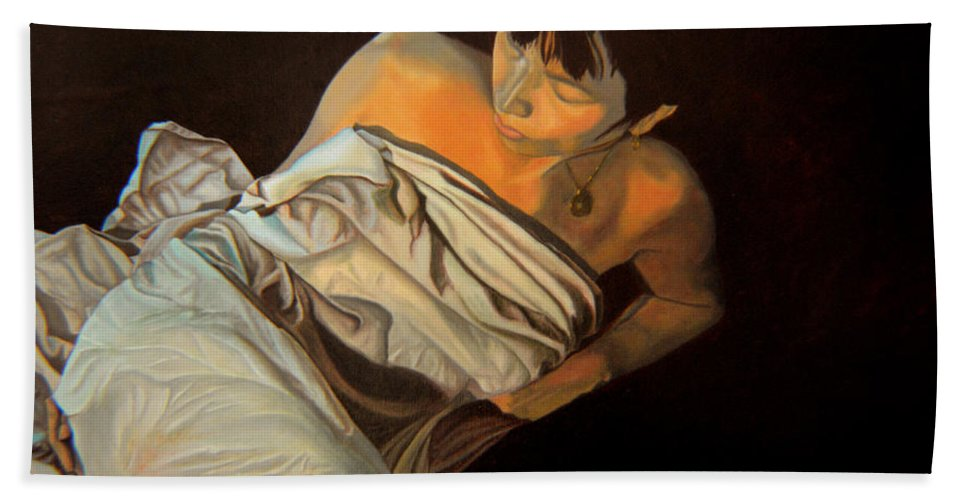 Semi-nude Hand Towel featuring the painting 1 Am by Thu Nguyen