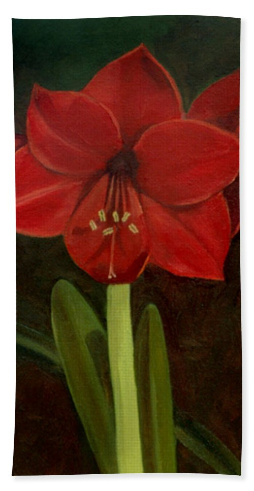 Amaryllis Bath Towel featuring the painting Amaryllis by Nancy Griswold