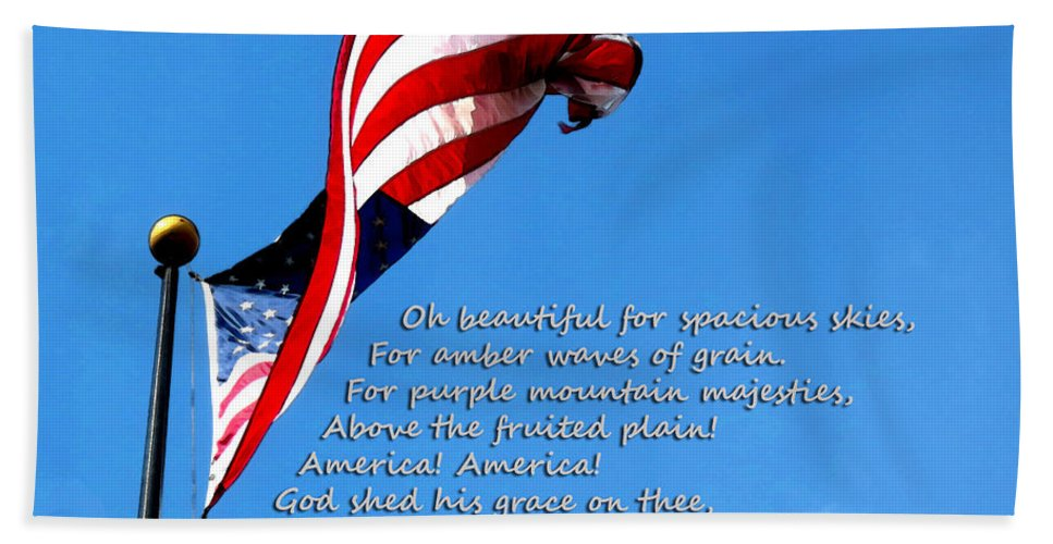 Flag Bath Sheet featuring the painting America The Beautiful - Us Flag By Sharon Cummings Song Lyrics by Sharon Cummings