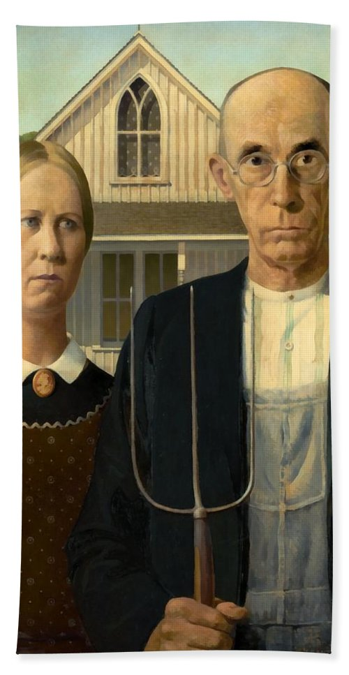 Grant Wood Hand Towel featuring the painting American Gothic by Grant Wood