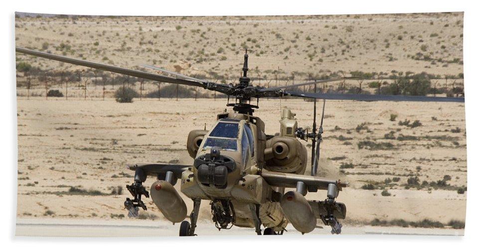 Transportation Bath Sheet featuring the photograph An Ah-64a Peten Attack Helicopter by Ofer Zidon