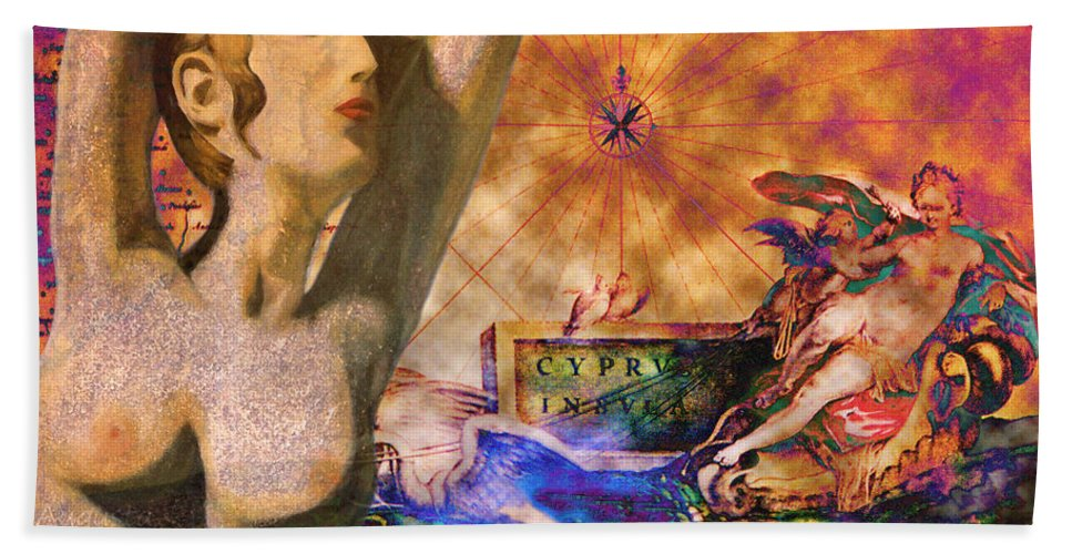 Augusta Stylianou Hand Towel featuring the digital art Ancient Cyprus Map And Aphrodite by Augusta Stylianou