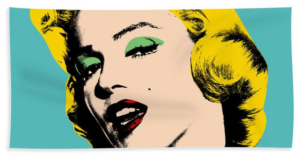 Pop Art Bath Towel featuring the digital art Andy Warhol by Mark Ashkenazi