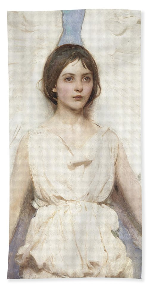 Abbott Handerson Thayer Hand Towel featuring the painting Angel by Abbott Handerson Thayer