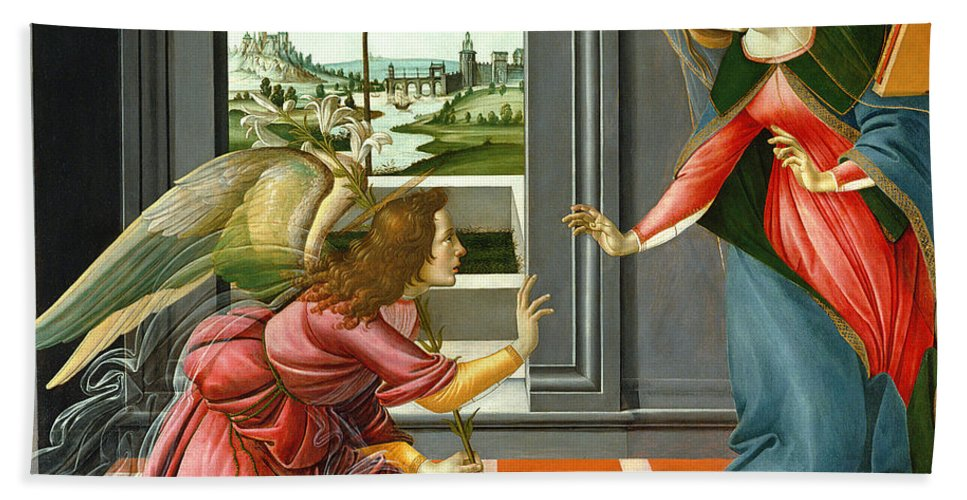 Lily Bath Towel featuring the painting Annunciation by Sandro Botticelli