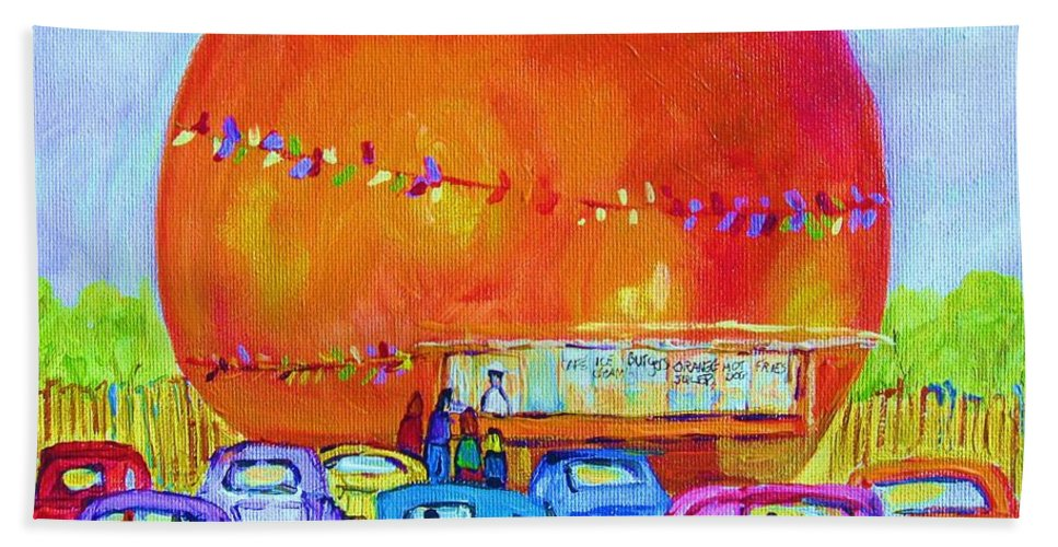 Cars Bath Towel featuring the painting Antique Cars At The Julep by Carole Spandau