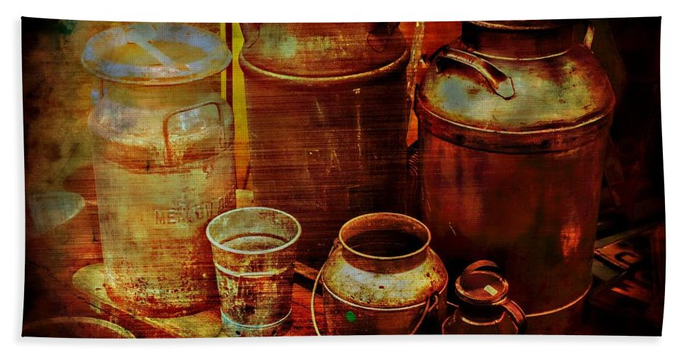 Cans Bath Sheet featuring the photograph Antique Milk Cans by Sherman Perry