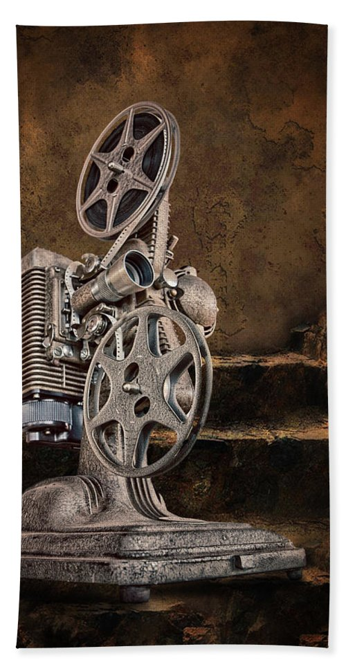 Movie Projector Bath Sheet featuring the photograph Antique Movie Projector by Ronel Broderick