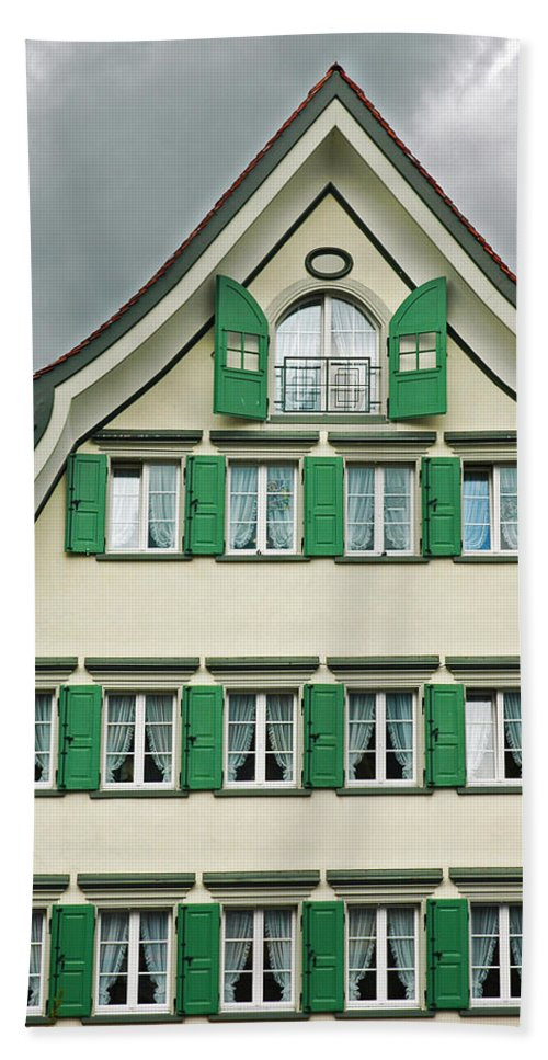 Alp Hand Towel featuring the photograph Appenzell Switzerland's Famous Windows by Ginger Wakem