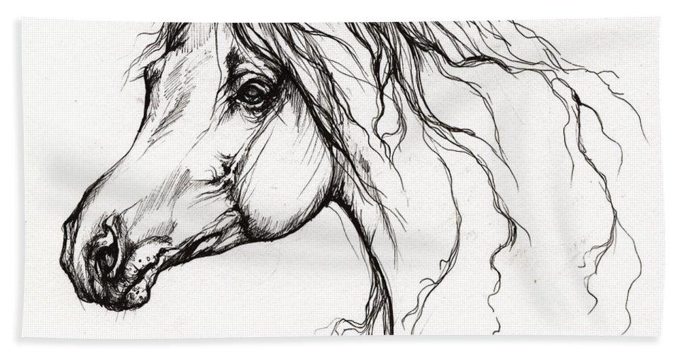 Horse Bath Sheet featuring the drawing Arabian Horse Drawing 37 by Angel Ciesniarska