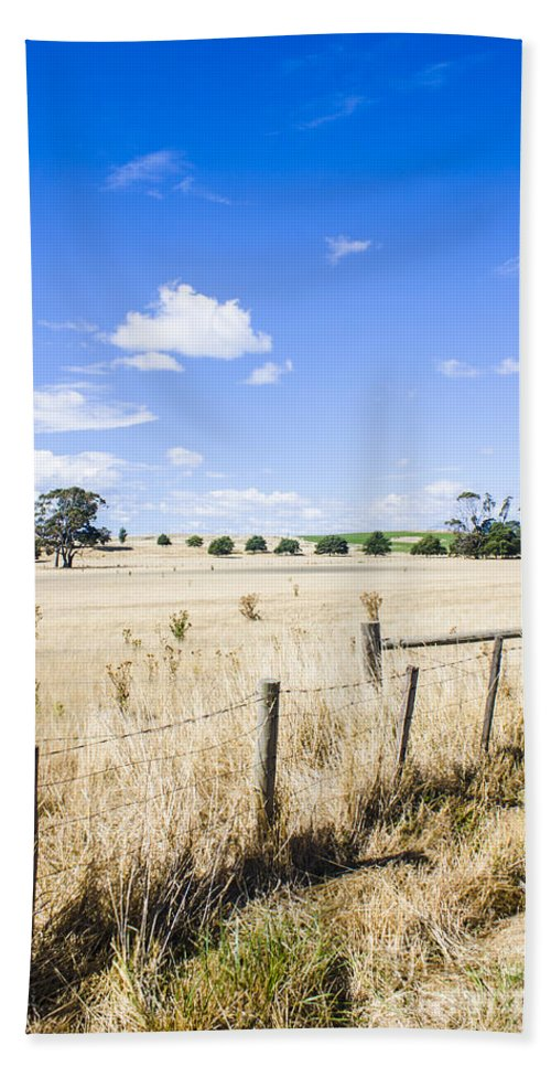 Tasmania Bath Sheet featuring the photograph Arid Agricultural Landscape In South Tasmania by Jorgo Photography - Wall Art Gallery