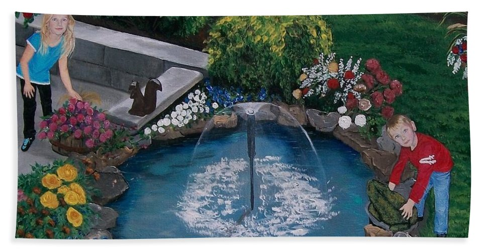 Backyard Hand Towel featuring the painting At The Pond by Sharon Duguay