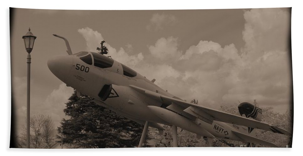 Atsugi Hand Towel featuring the photograph Atsugi Prowler C by Jay Mann