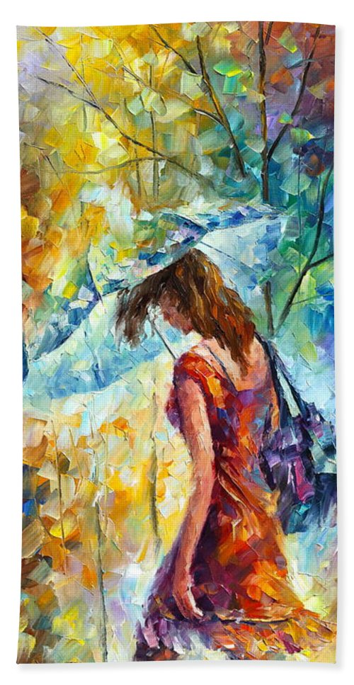 Afremov Bath Sheet featuring the painting Aura Of Autumn 1 by Leonid Afremov