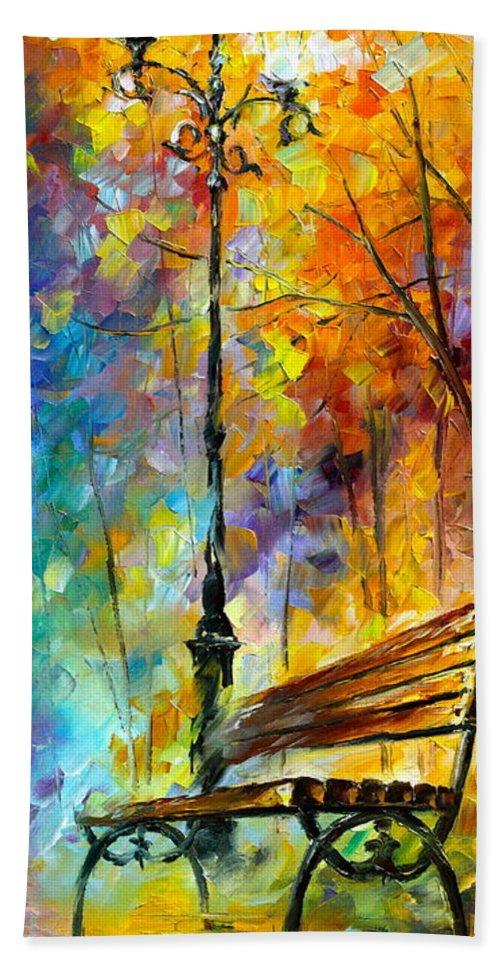 Afremov Bath Sheet featuring the painting Aura Of Autumn 2 by Leonid Afremov