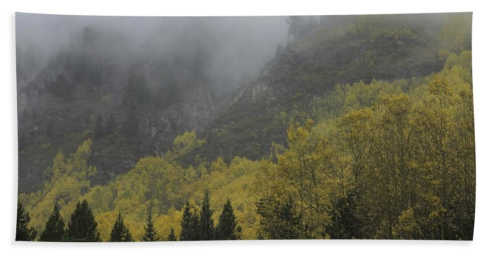 Landscape Hand Towel featuring the photograph Autumn Mist by Bill Sherrell