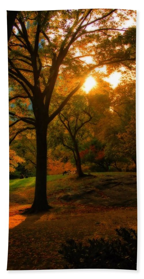Autumn Sunset Hand Towel featuring the photograph Autumn Sunset by Dan Sproul