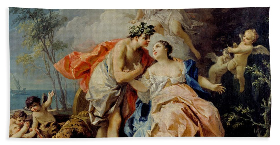 Jacopo Amigoni Hand Towel featuring the painting Bacchus And Ariadne by Jacopo Amigoni
