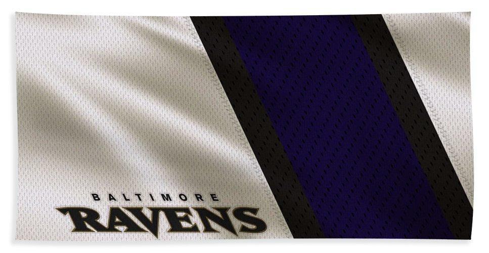 Ravens Hand Towel featuring the photograph Baltimore Ravens Uniform by Joe Hamilton