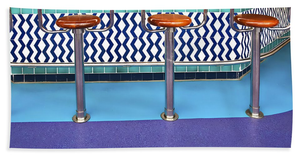 Architecture Hand Towel featuring the photograph Bar Stools by Maria Coulson