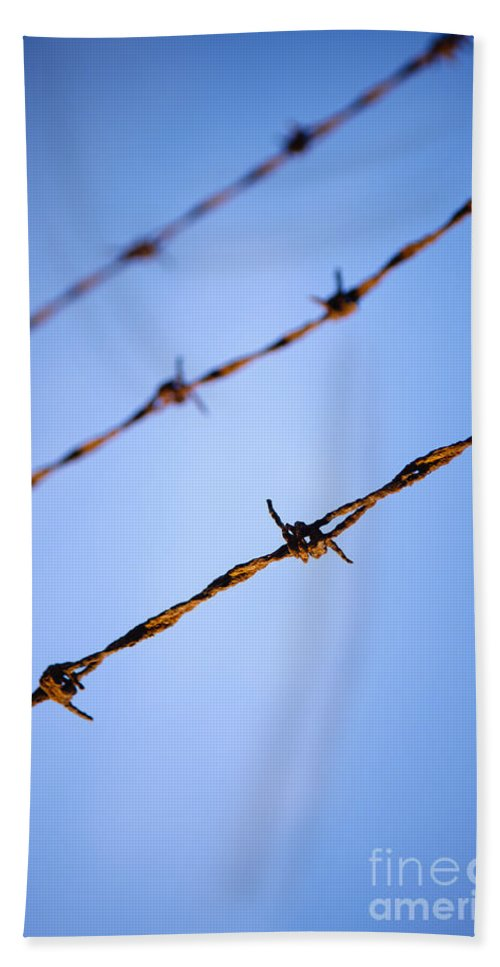 Macro Hand Towel featuring the photograph Barbed Wire Close by Tim Hester