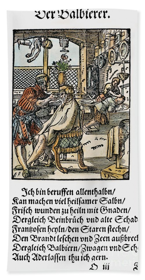 1568 Bath Sheet featuring the photograph Barber-surgeon, 1568 by Granger