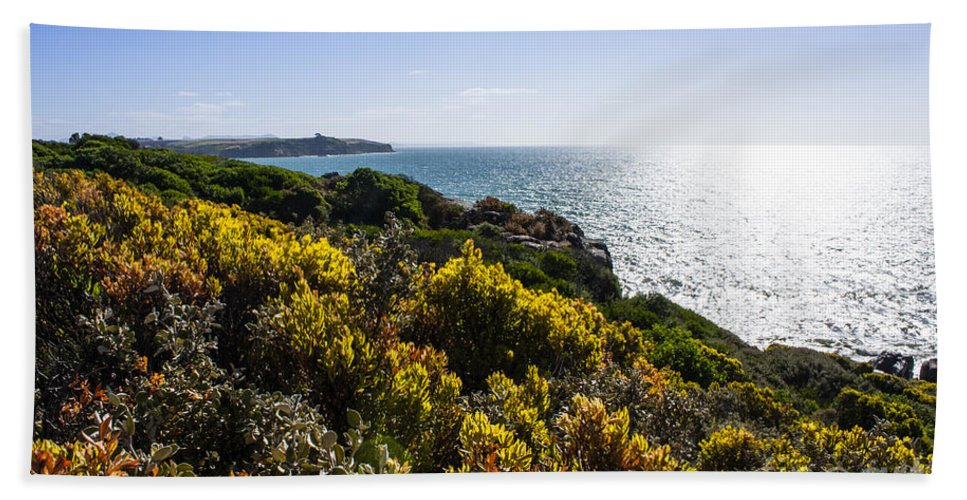 Bass Strait Hand Towel featuring the photograph Bass Strait Ocean Landscape In Tasmania by Jorgo Photography - Wall Art Gallery