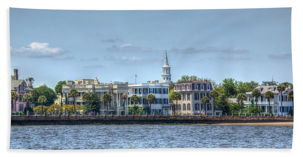 Charleston Hand Towel featuring the photograph Battery Homes by Dale Powell
