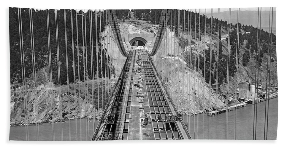 1935 Hand Towel featuring the photograph Bay Bridge Under Construction by Underwood Archives