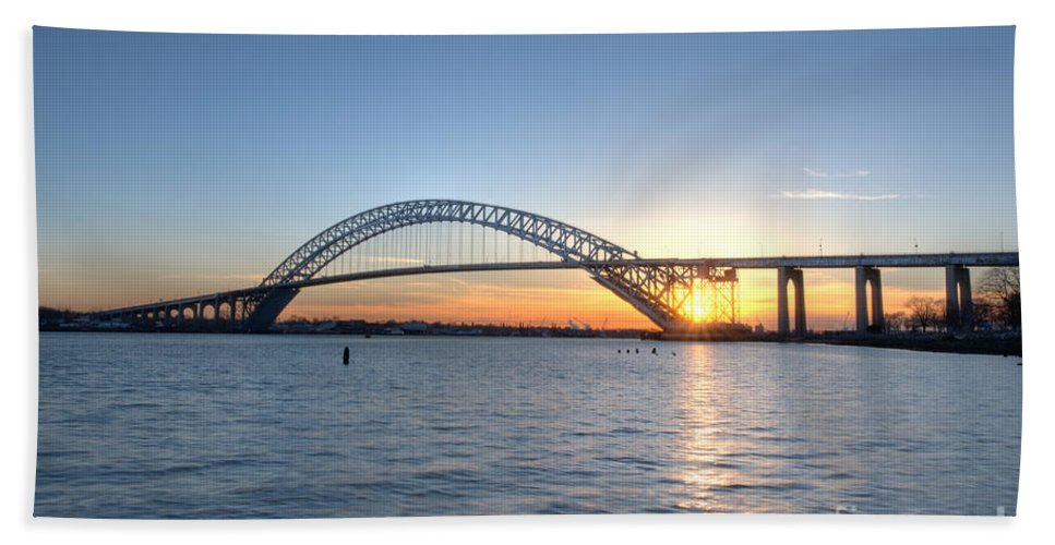 Sunset Hand Towel featuring the photograph Bayonne Bridge Sunset by Michael Ver Sprill