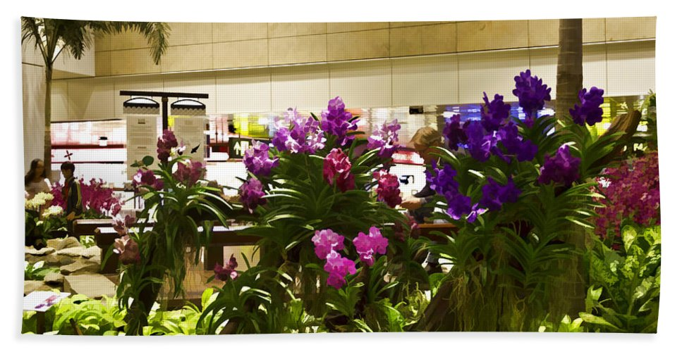 Airport Bath Sheet featuring the photograph Beautiful Flowers Inside The Changi Airport In Singapore by Ashish Agarwal