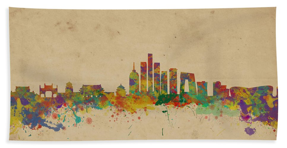 Beijing Bath Sheet featuring the photograph Beijing China Skyline by Chris Smith