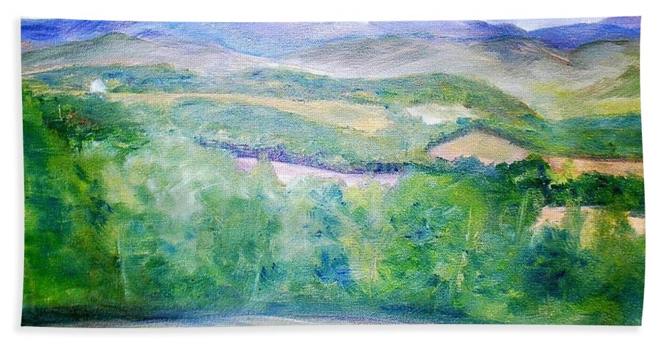 Benson Hand Towel featuring the painting Benson Vermont by Sheila Mashaw