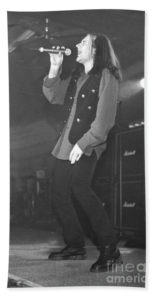 Heavy Metal Bath Sheet featuring the photograph Black Sabbath Tony Martin by Concert Photos