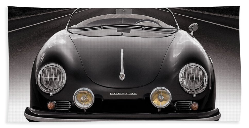 Porsche Bath Towel featuring the photograph Black Porsche Speedster by Douglas Pittman
