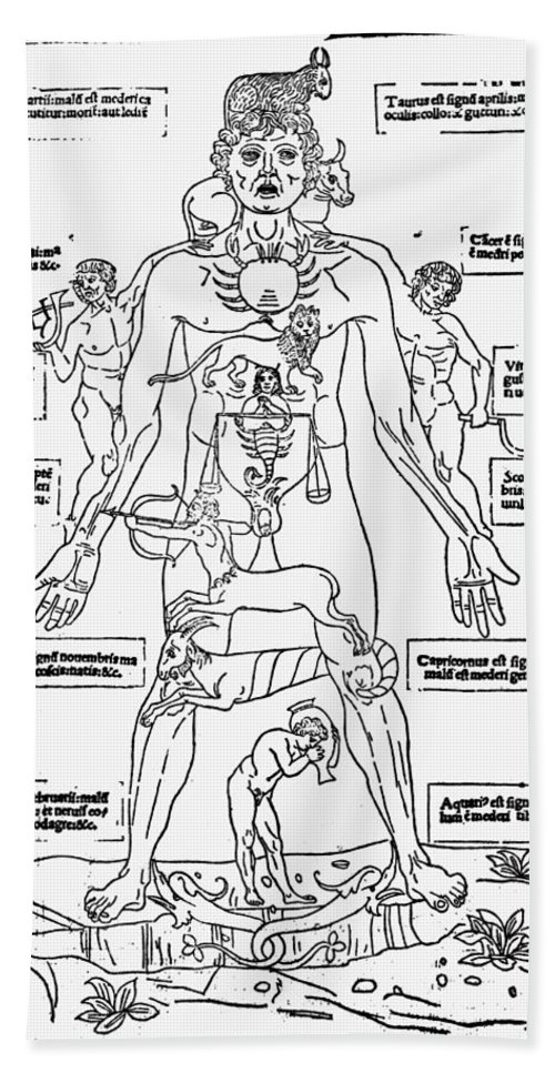 1493 Bath Sheet featuring the photograph Bloodletting Chart, 1493 by Granger