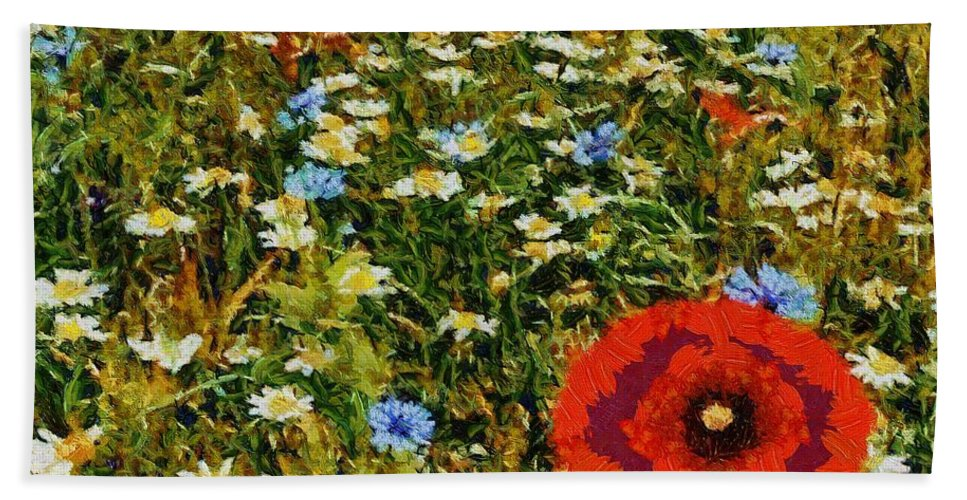 Leandscape Bath Sheet featuring the painting Blossoming Meadow by Dragica Micki Fortuna