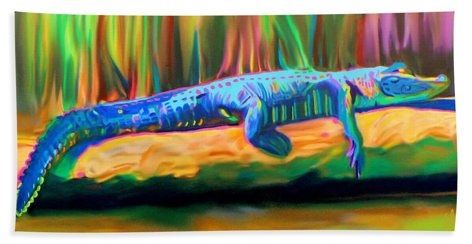 Gator Hand Towel featuring the painting Blue Alligator by Deborah Boyd