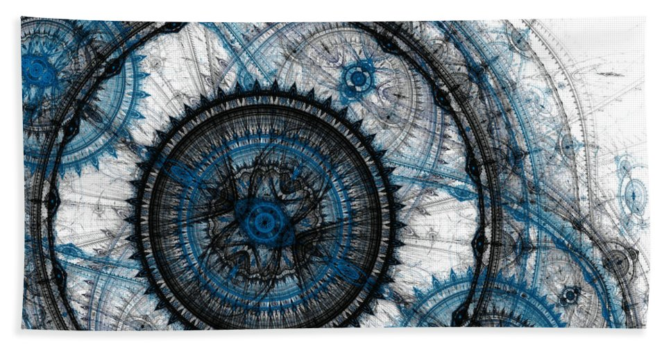 Time Hand Towel featuring the digital art Blue Clockwork by Martin Capek