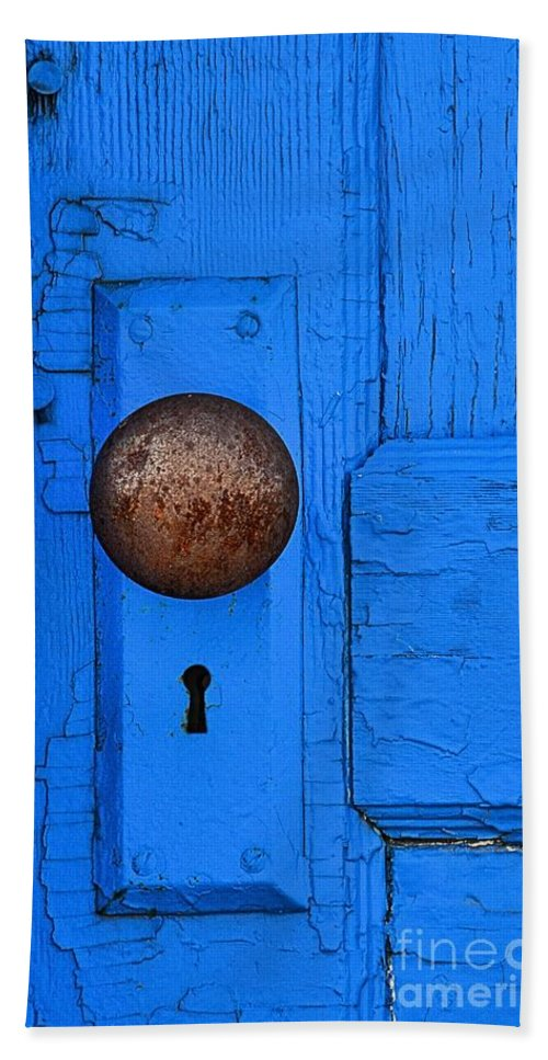 Abstract Hand Towel featuring the photograph Blue Door by Lauren Leigh Hunter Fine Art Photography