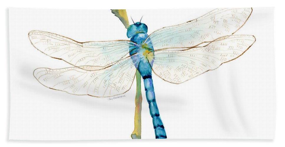 Blue Hand Towel featuring the painting Blue Dragonfly by Amy Kirkpatrick