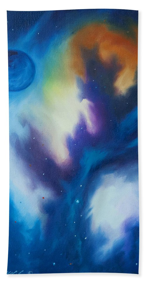 James Christopher Hill Hand Towel featuring the painting Blue Giant by James Christopher Hill