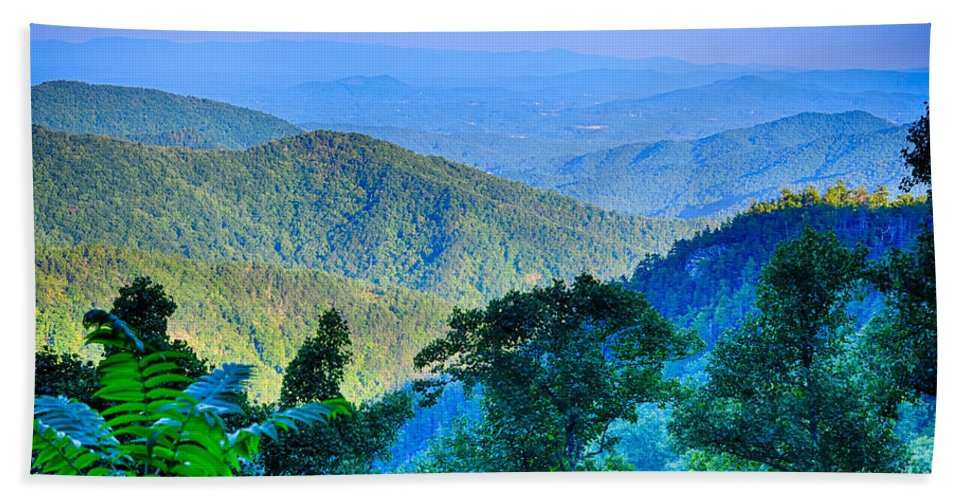 Mountains Bath Sheet featuring the photograph Blue Ridge Parkway National Park Sunset Scenic Mountains Summer by Alex Grichenko