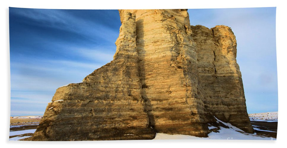 Monument Rocks Hand Towel featuring the photograph Blue Skies At Monument Rocks by Adam Jewell