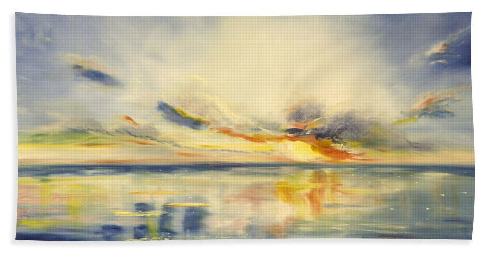 Blue Bath Sheet featuring the painting Blue Sunset by Gina De Gorna