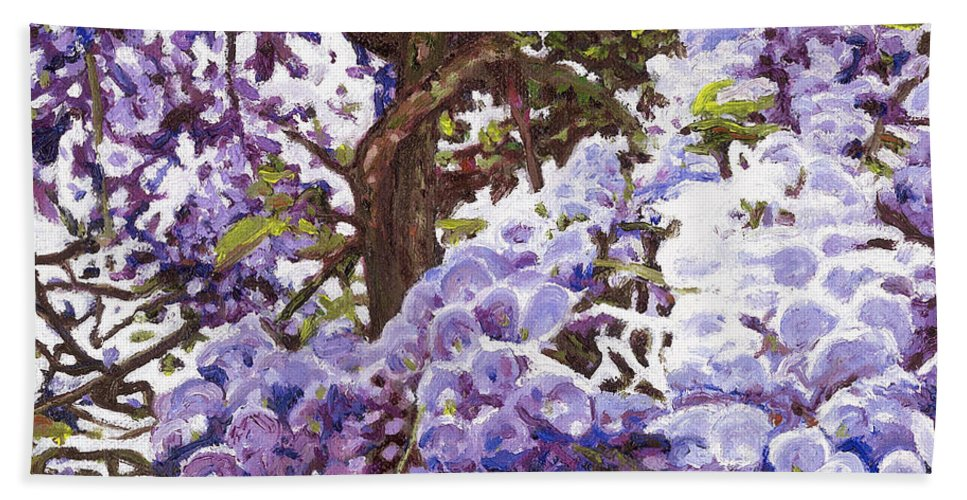 Wisteria Hand Towel featuring the painting Blue Wisteria by Helen White