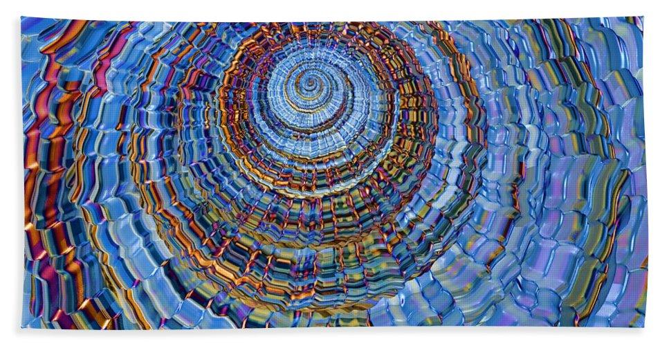 Spiral Bath Sheet featuring the digital art Blue World by Deborah Benoit