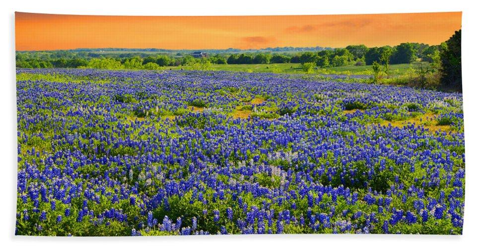 Landscape Bath Towel featuring the photograph Bluebonnet Sunset by Lynn Bauer