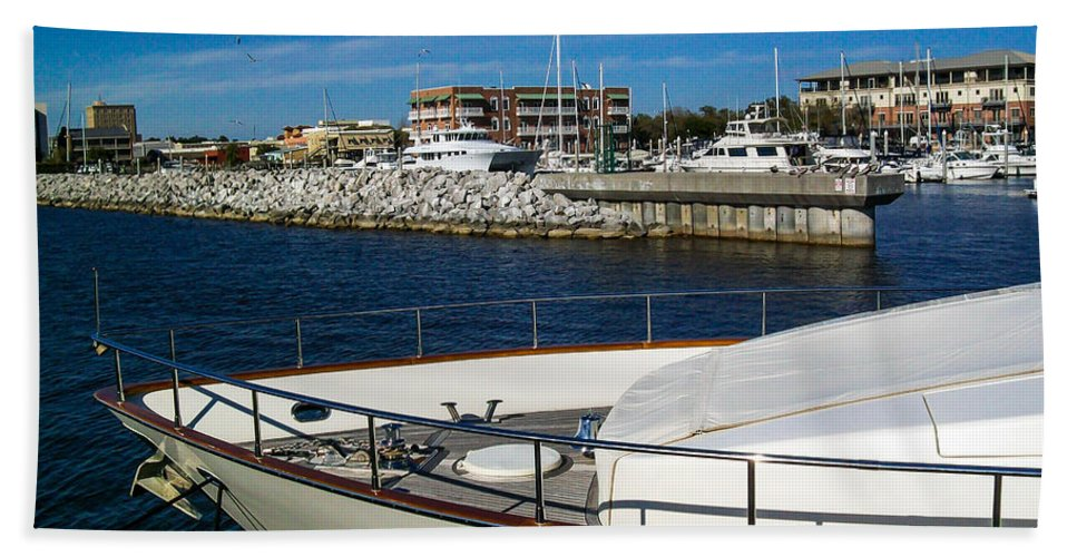 Pensacola Port Hand Towel featuring the photograph Boats In Port by Mechala Matthews